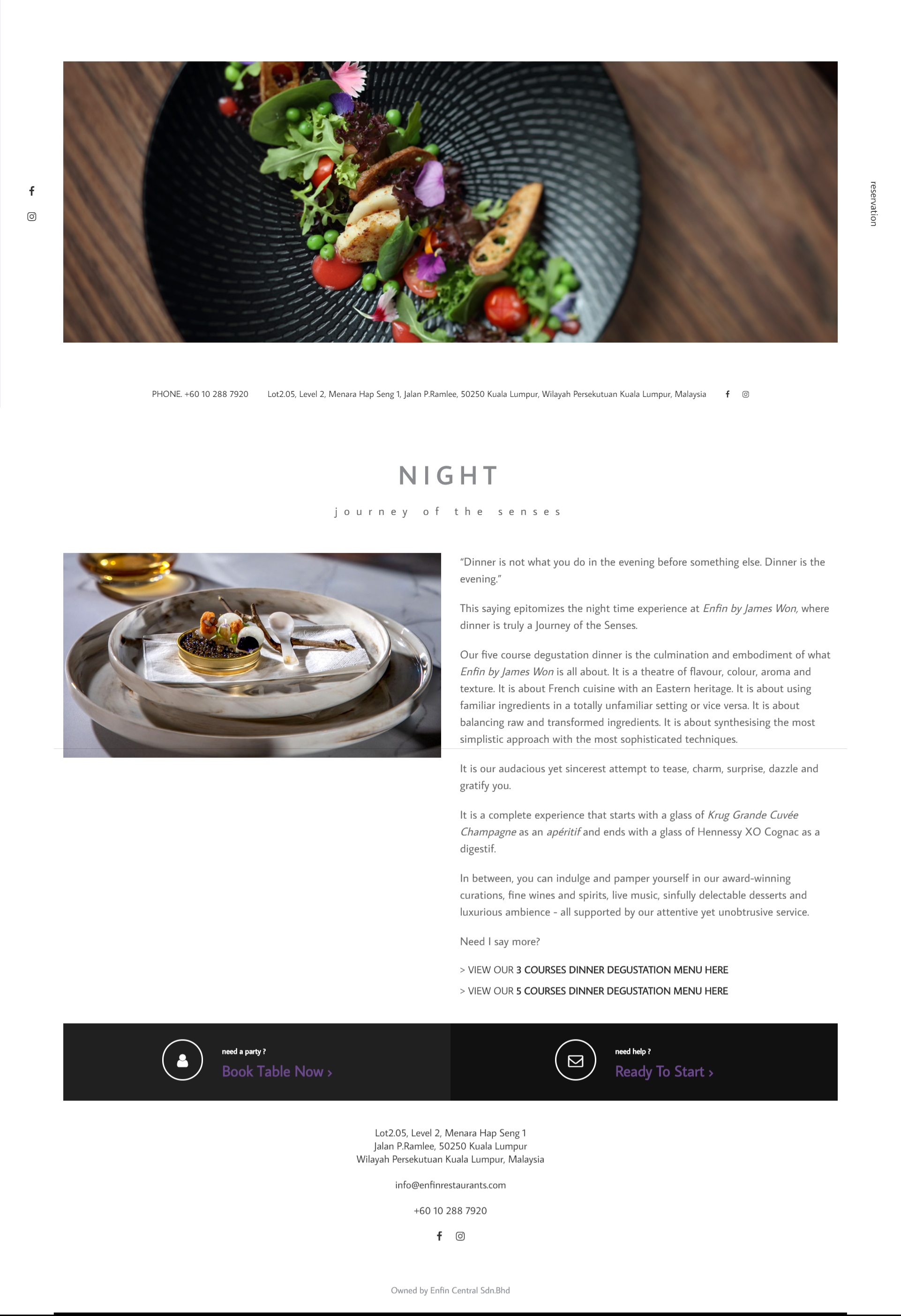 Web design for Enfin by James Won