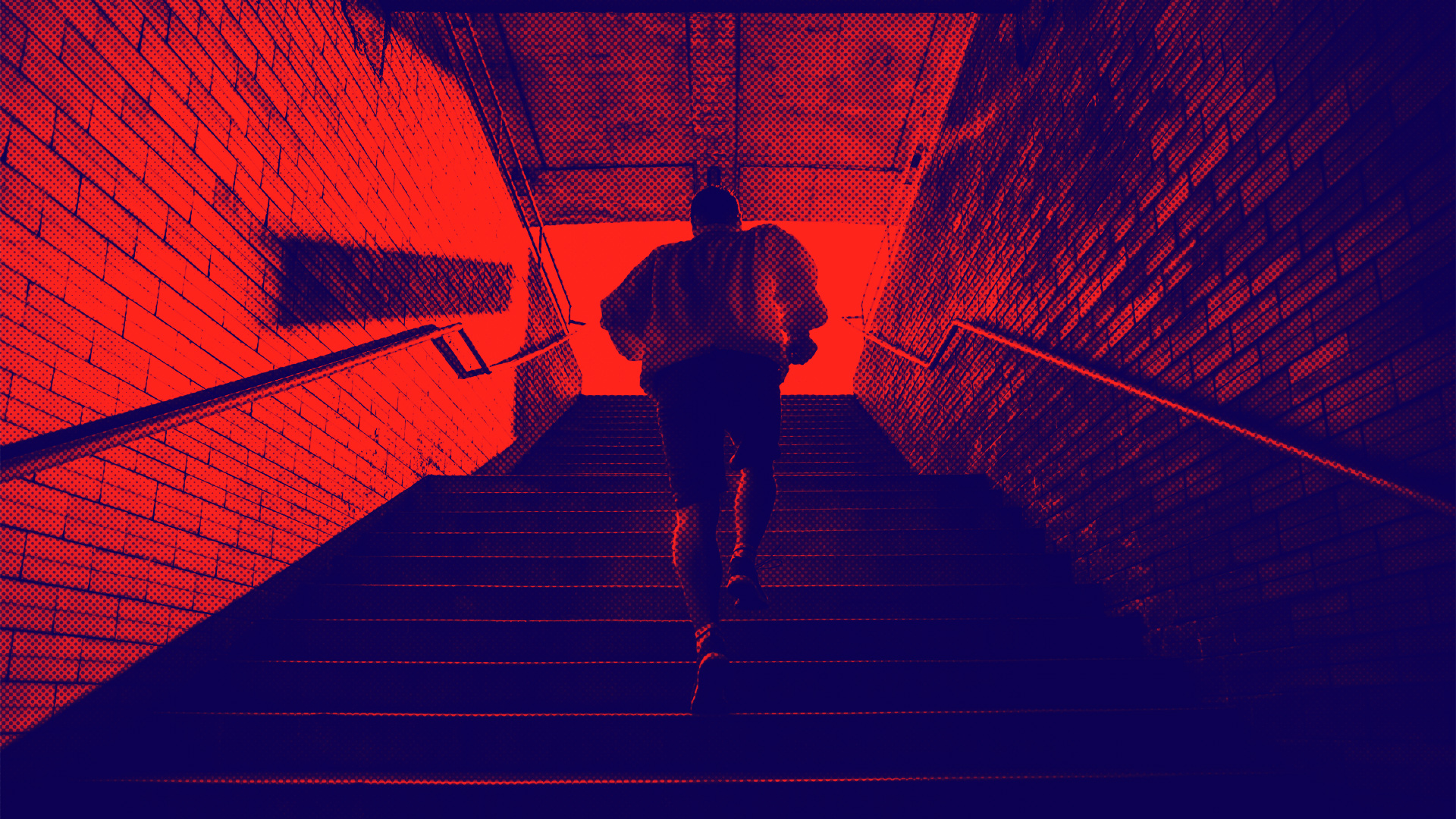 Man running up stairs image