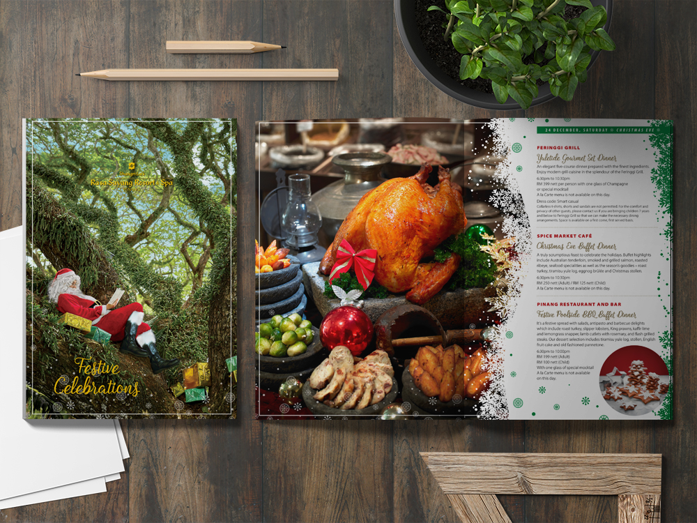 Festive hotel brochure design by C-Square